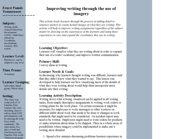 Improving Writing Through the Use of Imagery Lesson Plan