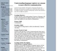 Understanding language registers as a means to more effective communication Lesson Plan