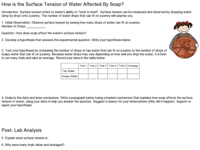 How is the Surface Tension of Water Affected by Soap? Lesson Plan
