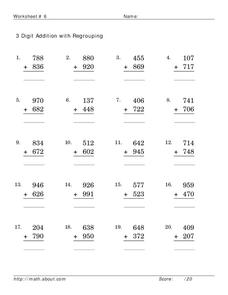 Addition: 3-Digit with Regrouping Lesson Plan