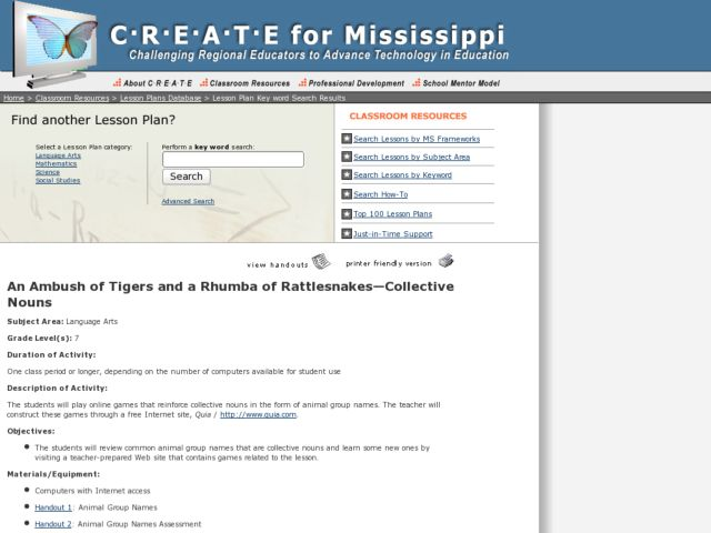An Ambush of Tigers and a Rhumba of Rattlesnakes Lesson Plan