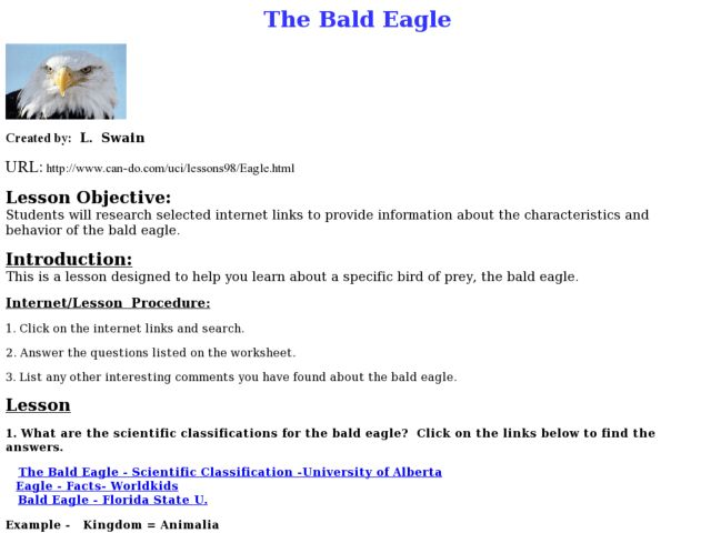 The Bald Eagle Lesson Plan