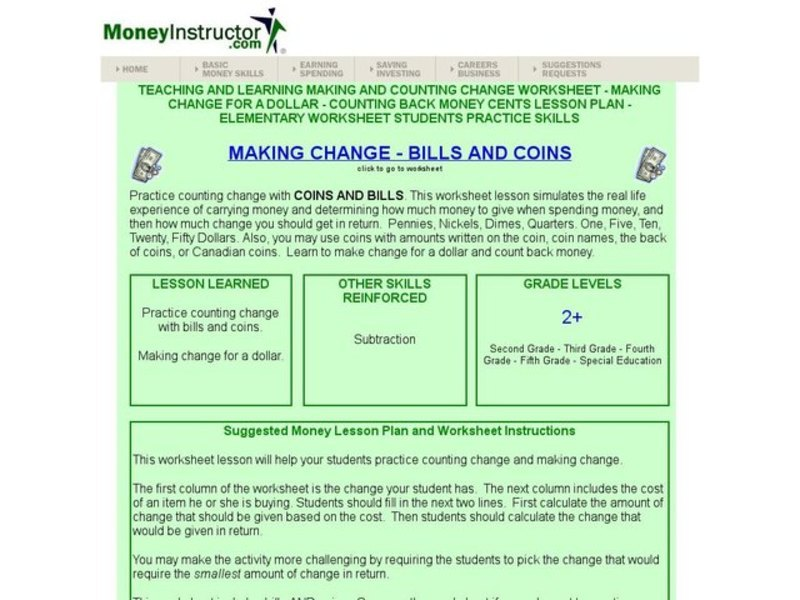 Making Change Math Worksheets money worksheets – Making Change Worksheet