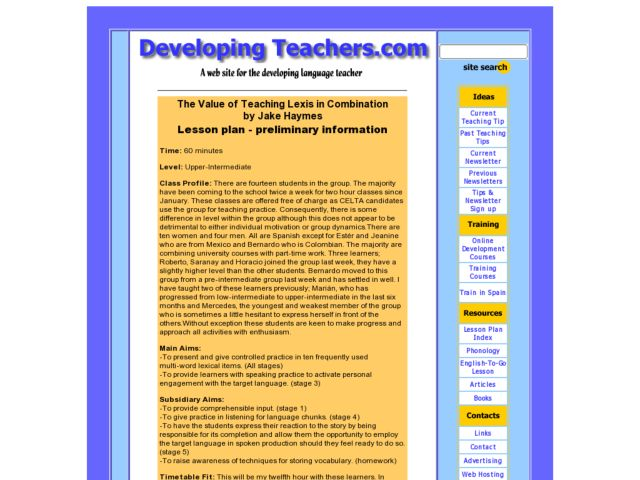 The Value of Teaching Lexis in Combination Lesson Plan