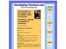 Listening, 'gossip' Vocabulary & Speaking Lesson Plan