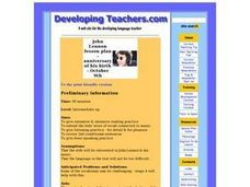 John Lennon Lesson Plan - Anniversary of His Birth - October 9th Lesson Plan