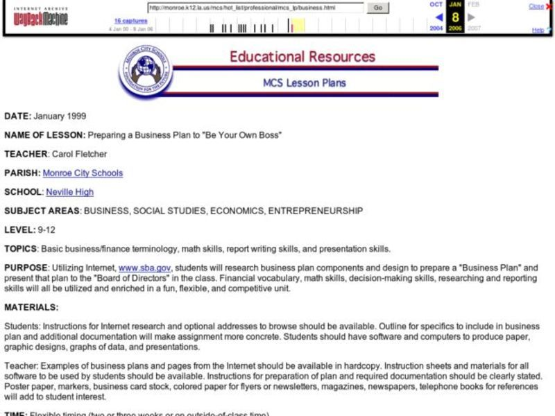 "Preparing a Business Plan to ""Be Your Own Boss"" Lesson Plan"