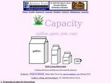 Capacity: Gallon, Quart, Pint, Cup Lesson Plan