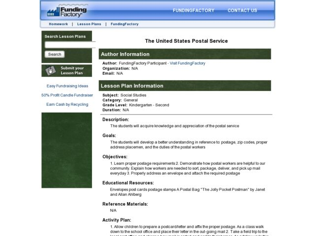 The United States Postal Service Lesson Plan