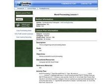Word Processing Lesson 1 Lesson Plan