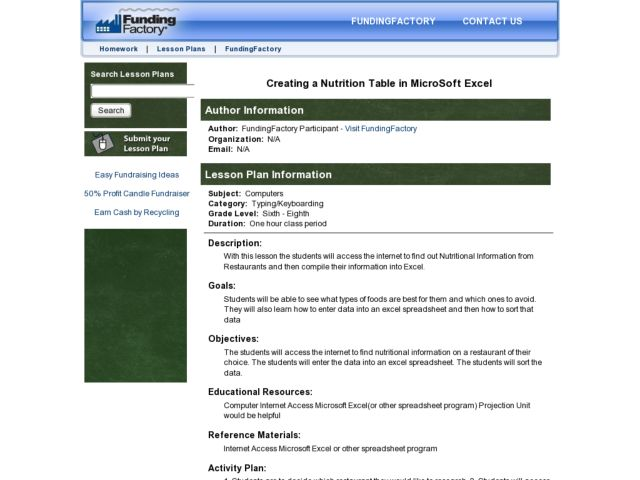 Creating a Nutrition Table in MicroSoftExcel Lesson Plan