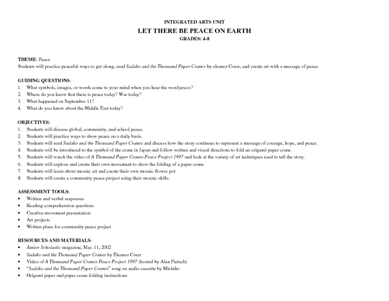 Let There Be Peace On Earth Lesson Plan