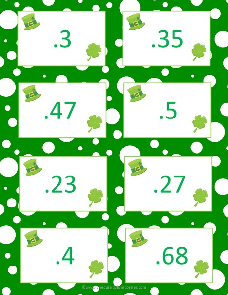 St. Patrick's Day Decimal Game Activities & Project
