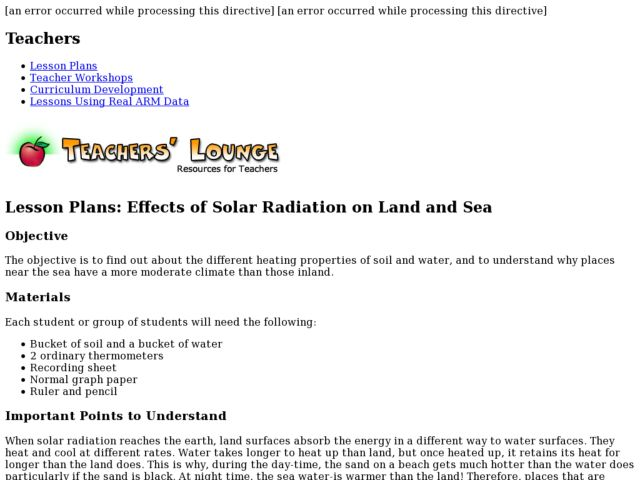 Effects of Solar Radiation on Land and Sea Lesson Plan