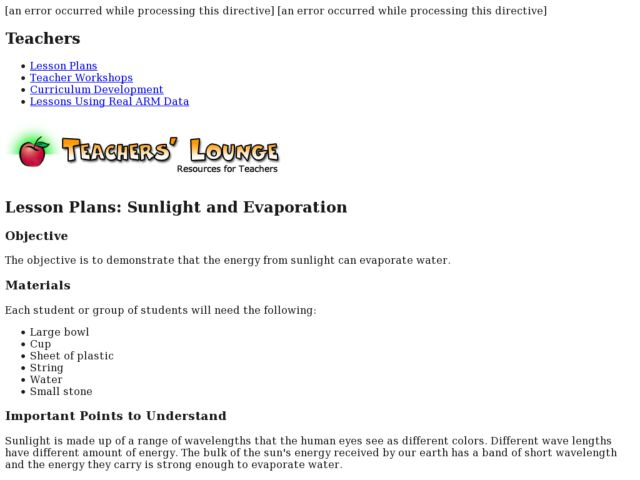 Sunlight and Evaporation Lesson Plan