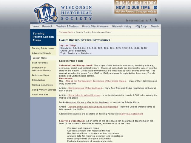 Early United States Settlement Lesson Plan