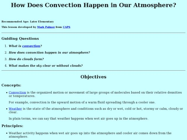 How Does Convection Happen in Our Atmosphere? Lesson Plan
