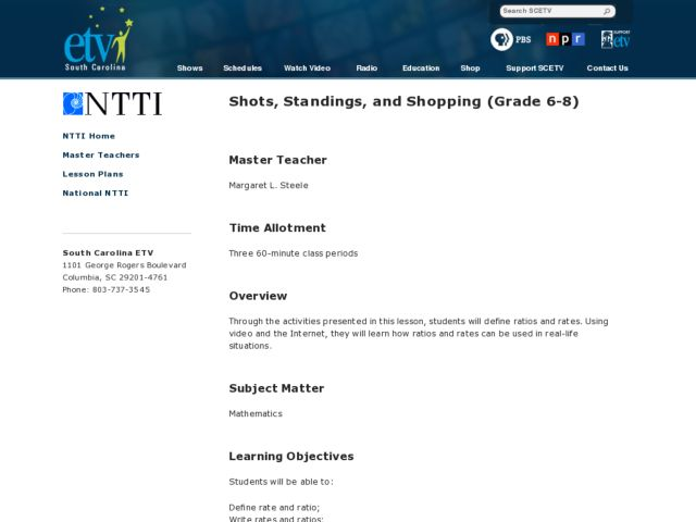 Shots, Standings, and Shopping Lesson Plan