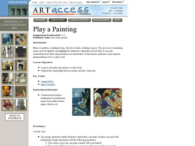 Play a Painting Lesson Plan