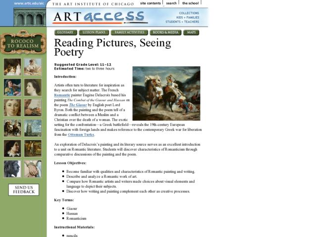 Reading Pictures, Seeing Poetry Lesson Plan