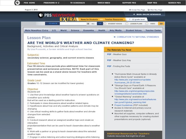 Are the World's Weather And Climate Changing? Lesson Plan