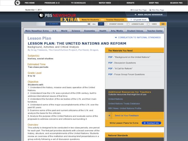 the United Nations And Reform Lesson Plan