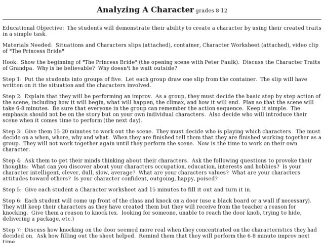 Analyzing A Character Lesson Plan