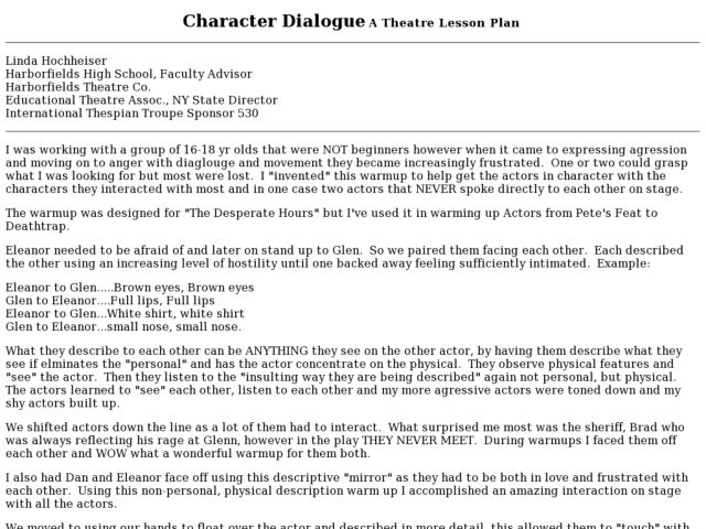 Character Dialogue A Theatre Lesson Plan Lesson Plan
