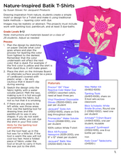 Nature Inspired Batik T-Shirt Lesson Plan