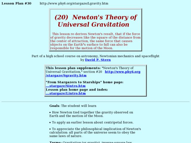 Newton's Theory of Universal Gravitation Lesson Plan