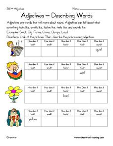 Adjectives - Describing Words Worksheet
