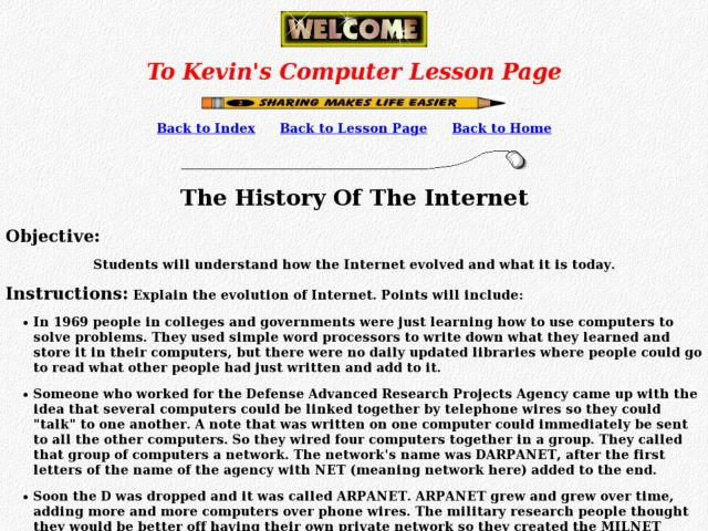 The History Of The Internet Lesson Plan