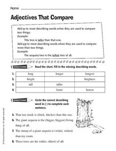 Adjectives That Compare Worksheet