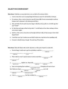 Adjectives Worksheet Worksheet