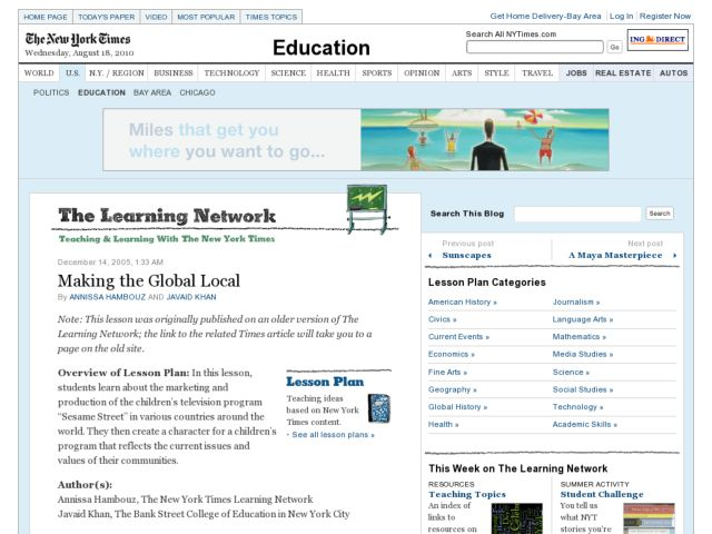 Making the Global Local Lesson Plan