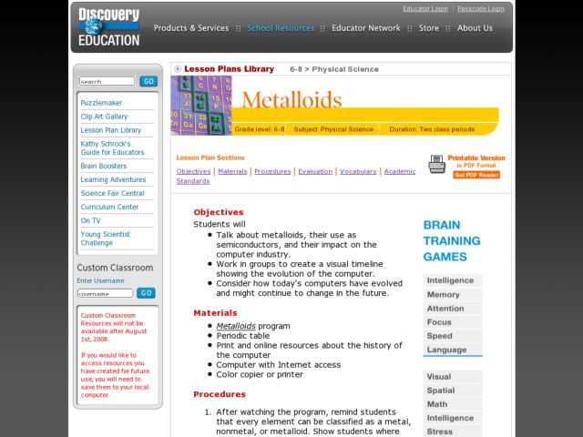 Metalloids Lesson Plan