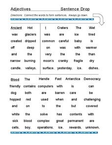 Adjectives: Sentence Drop Worksheet