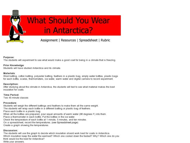 What Should You Wear in Antarctica? Lesson Plan