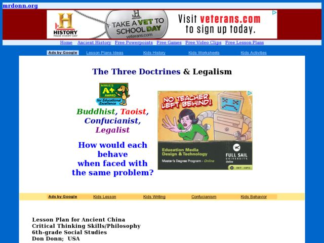 The Three Doctrines & Legalism Lesson Plan