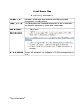 Circulatory System, Lesson Plan