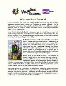 Who Was Saint Patrick? Worksheet