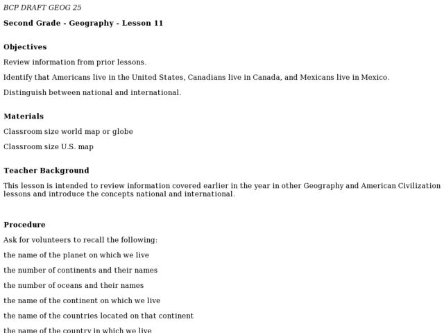 National And International Lesson Plan