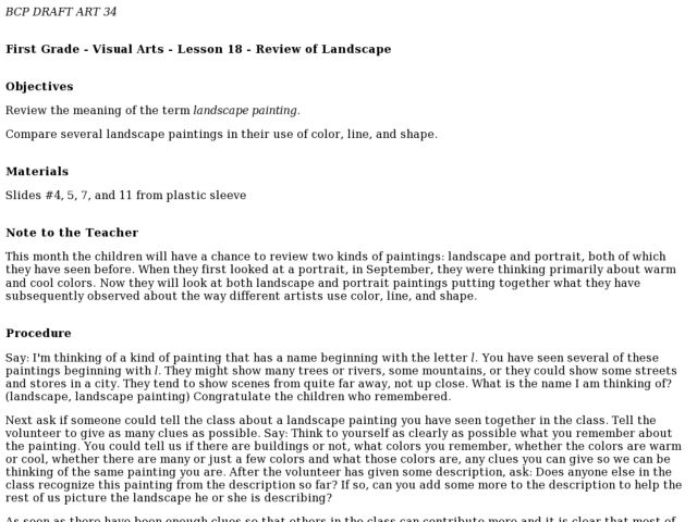 Review of Landscapes, Portraits Lesson Plan