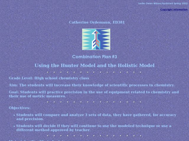 Using the Hunter Model and the Holistic Model Lesson Plan