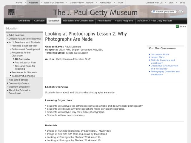 Looking at Photography Lesson 2: Why Photographs Are Made Lesson Plan