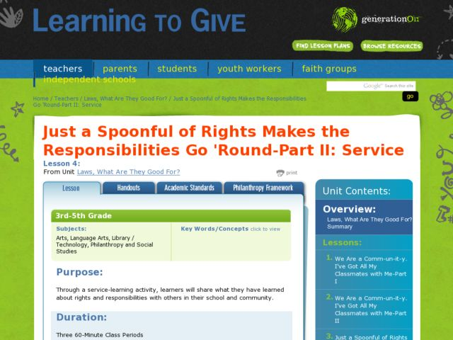 Just a Spoonful of Rights Makes the Responsibilities Go 'Round, Part II Service Lesson Plan