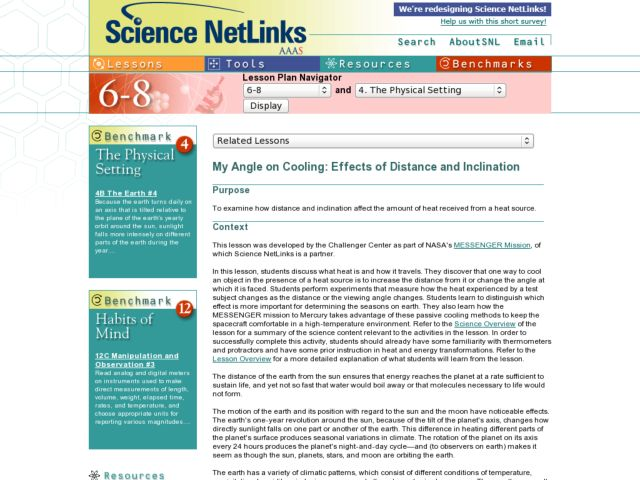 My Angle on Cooling: Effects of Distance and Inclination Lesson Plan