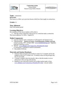 """Contraction Action"" Lesson Plan"