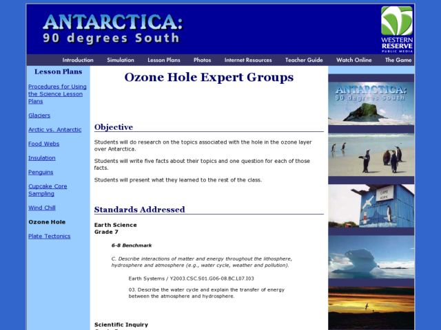 Ozone Hole Expert Groups Lesson Plan