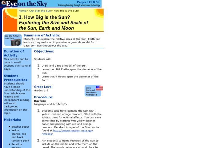 How Big is the Sun?  Exploring the Size and Scale of the Sun, Earth and Moon Lesson Plan